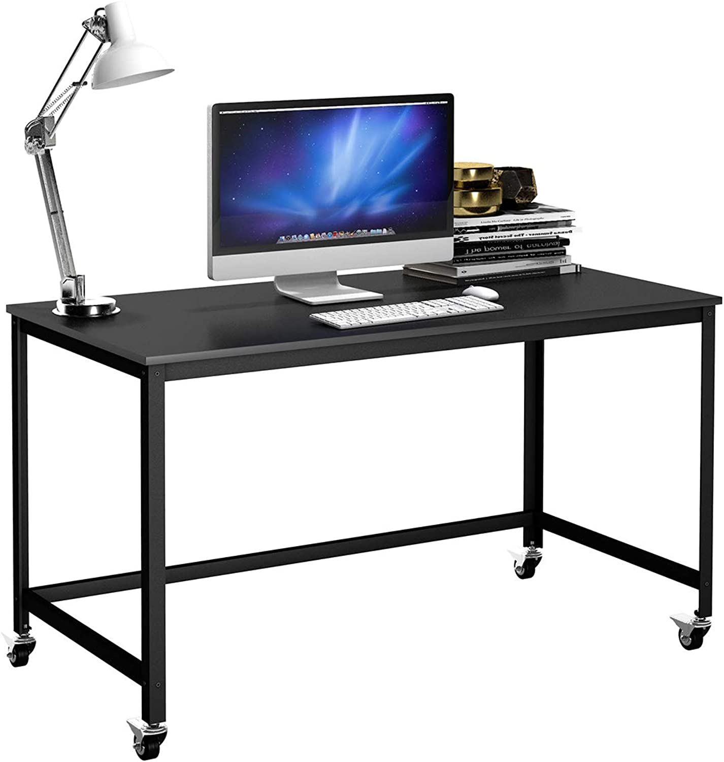 Tangkula Computer Desk, Wood Portable Compact Simple Style Home Office Study Table Writing Desk Workstation with 4 Smooth Wheels, Home Office Collection Work Table