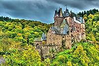 木製のパズル1000ピース、丘の上の石の城、戦的なレジャーおもちゃPUZZLE (50×75 CM)