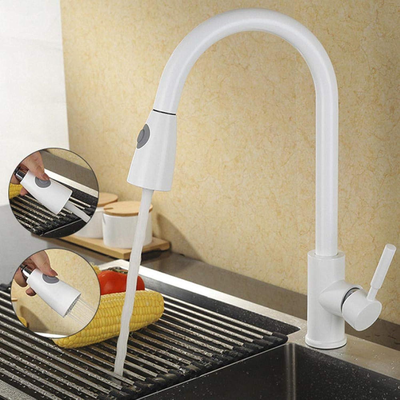 Küchenarmatur Ausziehbare Küchenarmatur Einhebelmischer Einlochmontage 360-Grad-Drehung Kupfer Wei Nickel Gold Schwenkbare Spültischmischer