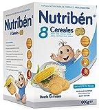 Nutribén Papilla 8 Cereales Galletas Maria, Vitaminas y Calcio, 600g