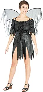 Womens Baby Yaga Shredded PVC Wet Look Halloween Costume Ladies Fairy Witch Black Outfit One Size Fits US 4-10