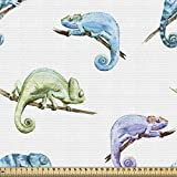 ABAKUHAUS Chamäleon Gewebe als Meterware, Reptil Tier auf