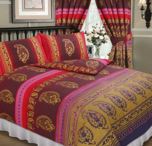 Kashmir Fuchsia, King Size Bed Duvet / Quilt Cover Set, Ethnic Asian Indian Floral Dots Print, Burgundy Rust Red Pink Purple Lilac Metallic Gold, Superior Quality 68 Pick Fabric by HICO
