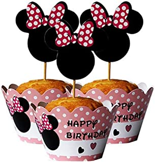 24 Serves Mickey Mouse Minnie Cupcake Toppers and Wrappers Birthday Cake Decorations for Mickey Mouse Minnie Themed Party ...