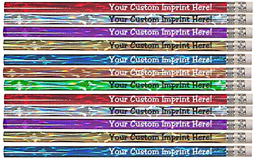 Personalized Pencils - Round - Laser Theme - Custom Printed with your message, text or logo - by Express Pencils - 12 pkg FREE PERZONALIZATION Great gift idea (Assorted Colors)