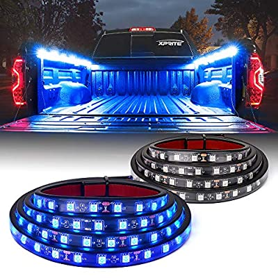 "[Upgraded] Xprite 60"" Inch Blue LED Truck Bed Lights Strip Kit, Decoration Lighting Bar for Cargo Pickup Trucks Van SUV RV Boat, On|Off Switch - 2PCS"