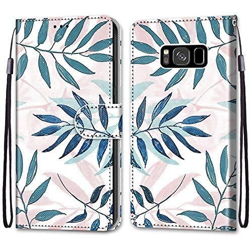 Nadoli Handyhülle Leder für Samsung Galaxy S8,Bunt Bemalt Rosa Grün Blätter Trageschlaufe Kartenfach Magnet Ständer Schutzhülle Brieftasche Ledertasche Tasche Etui