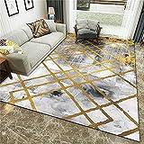 Alfombra De Salón De Pelo Corto Diseño para - Salón Hermosa Tinta gradiente de Oro línea de Oro impresión Antideslizante Decorativa alfombra-160x230cm