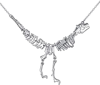 S925 Sterling Silver Choker Jewelry Dinosaur Vintage Necklace Short Necklace for Women Teens 15+3''