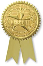 Embossed Seal of Achievement Ribbon Certificate Seals, 102 Pack (Gold)