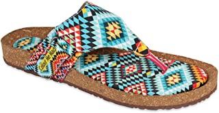 Colour Me Mad Blue Geometric Printed, Natural Cork, Washable, All Weather, Vegan, Made in India, PETA Certified, Women Sandals
