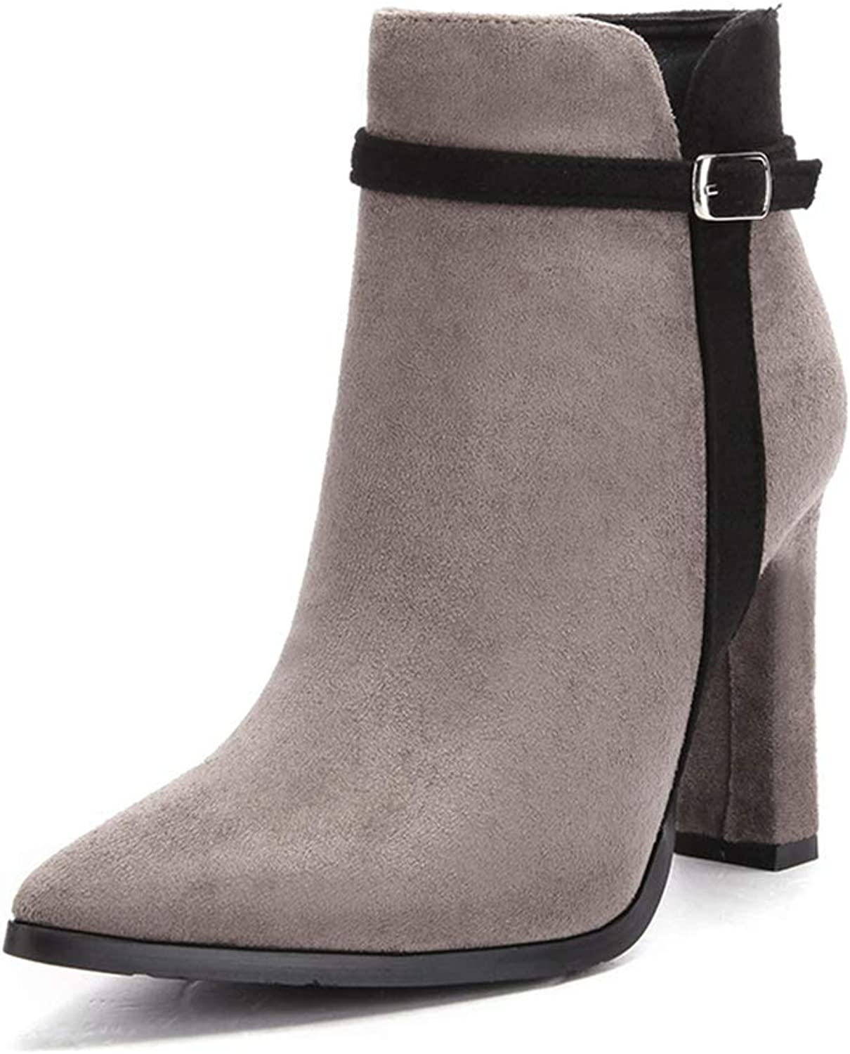 Super frist Fashion Wild Female Booties Pointed Thick with high Heel Side Zipper Belt Buckle