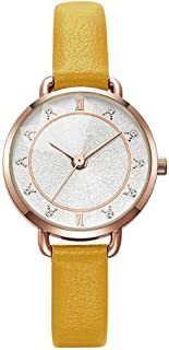 Wangyr Women's Girl Lady Diamond Simple Slim 7mm Quartz Watch 29mm Leather Strap Fashion Waterproof Black and White Yellow Holiday Gift Unique Fashion Classic Casual Luxury Business Dress
