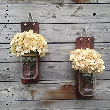 Tennessee Wicks Handcrafted Rustic Mason Jar Wall Wooden Sconce, Set of 2, With Optional Off White Hydrangea Spray …