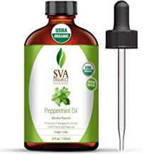 SVA Organics Peppermint Essential Oil Organic 4 Oz USDA 100% Pure Natural Premium Therapeutic Grade with Dropper for Diffu...