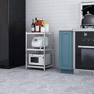 Estante para Horno de microondas 3-Tier cocina de metal de almacenamiento Bastidores Horno Microondas Standfor estante de especia estación de trabajo Organizador ( Color : Silver , Size : 78x37x60cm )