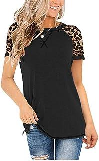 Women's Leopard Stitched Crew Neck Short Sleeve T-Shirt...
