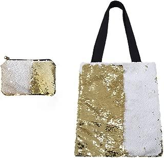 Reversible Sequin Tote Bag Sublimation Blanks Glitter Shoulder Bag Fashion Handbag Shopping Bag with Wallet for Women Girl
