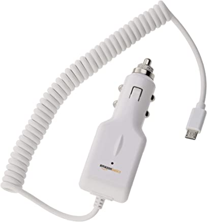 AmazonBasics Micro USB Universal Car Charger for Android - Coiled Cable - White