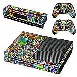 AXDNH Piel para La Etiqueta Engomada del Controlador Xbox, Accesorio Compatible para Microsoft Game Console (Xbox One, Colorful) Y 2 Gamepads Calcomanía De PVC Y Protector Kinect,0876