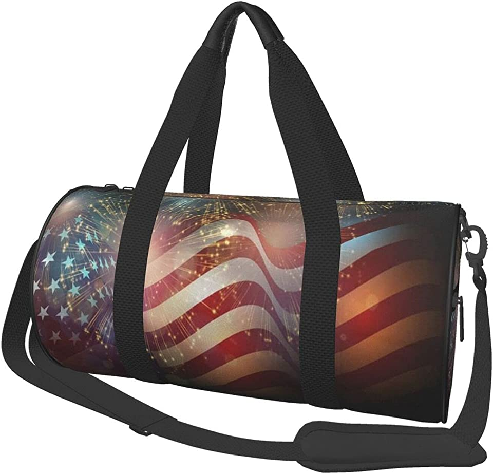 Memorial Independence Day Patriotic Firework 4th Of July Sports Duffle Bag Overnight Weekender Carry On Bags For Airplanes