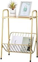 طاولة جانبية معدنية مستطيلة ذهبية وحديثة، طاولة بنهاية طابقين مع مساحة تخزين لغرفة النوم، وغرفة المعيشة، وطاولة السرير الج...