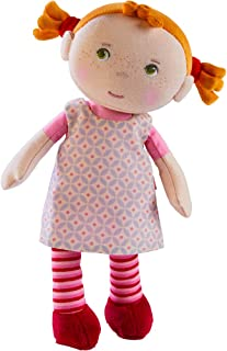 """HABA Snug Up Roya - 10"""" Soft Doll with Fuzzy Red Pigtails, Embroidered Face and Removable Pink Dress (Machine Washable) fo..."""