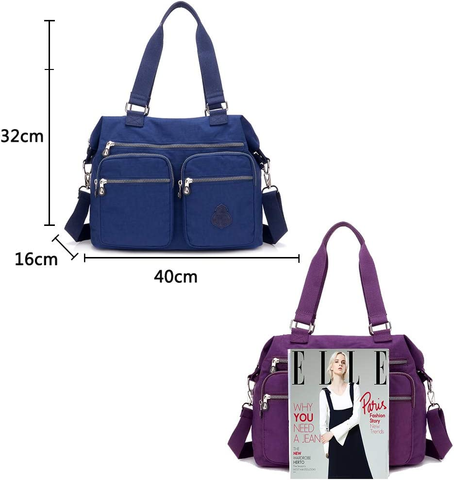 Coolives Casual Bolso de Hombro para Mujer Shopper con Bandolera Azul Marino