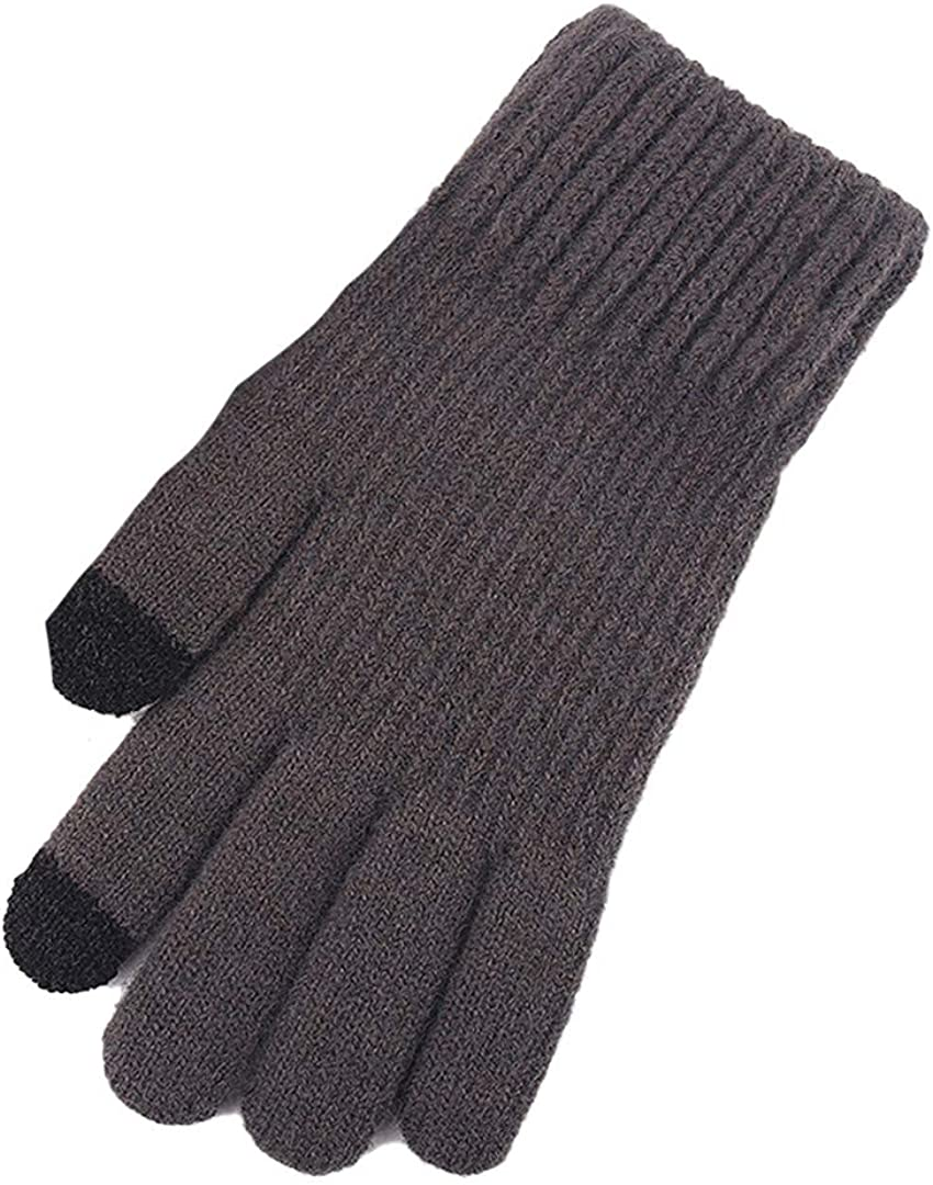 Touch Screen Knitted Gloves Men Women Thicken Wool Mitten Outdoors Anti-Slip Warmer Couple Gloves Solid Stripe grey