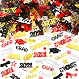 3000 Pieces Graduation Confetti 2021 Happy New Year Confetti Graduation Cap Diploma Table Decorations for Grad Party Anniversary Birthday Party Supplies (Gold, Silver, Black, Red)