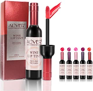 ALIVER 6 Colors Wine Lip Tint Set Matte Lip Stain Liquid Lipstick,Long-lasting Waterproof Moisturizing and Non-stick Cup Lip Gloss Lip sticks,Gift for Women, Girls,Girlfriends, Moms