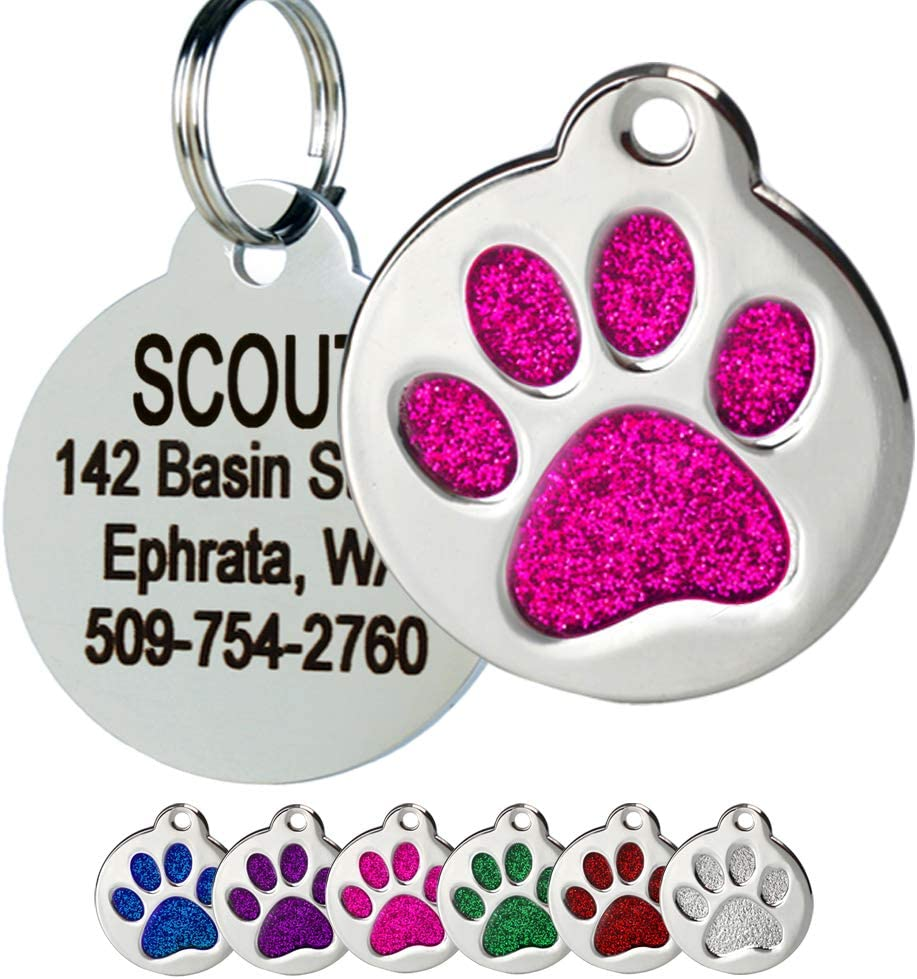 GoTags Paw Print Round Stainless Arlington Mall Steel Cats Pet Tag Max 44% OFF and Dogs for