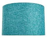 Abat-jour forme Tambour moderne et élégant de 12 pouces en tissu de lin sarcelle 60w maximum par Happy Homewares