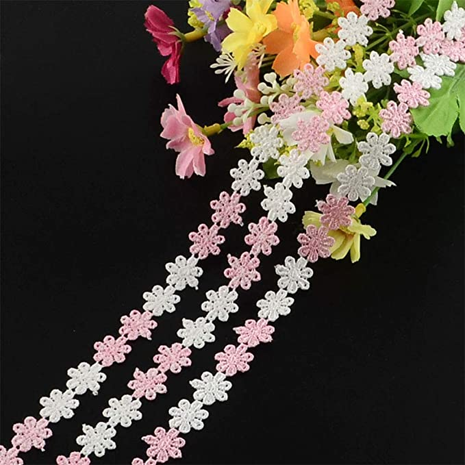 PH PandaHall Multicolor Flower Lace Trim Ribbon 15 Yards for DIY Sewing Craft Party Wedding Home Decoration