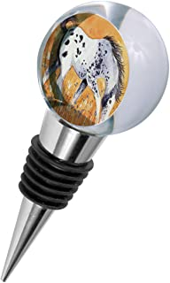 Crystal Wine Stopper - Blue Roan Appaloosa Colt with Wildflowers Horse Art by Denise Every