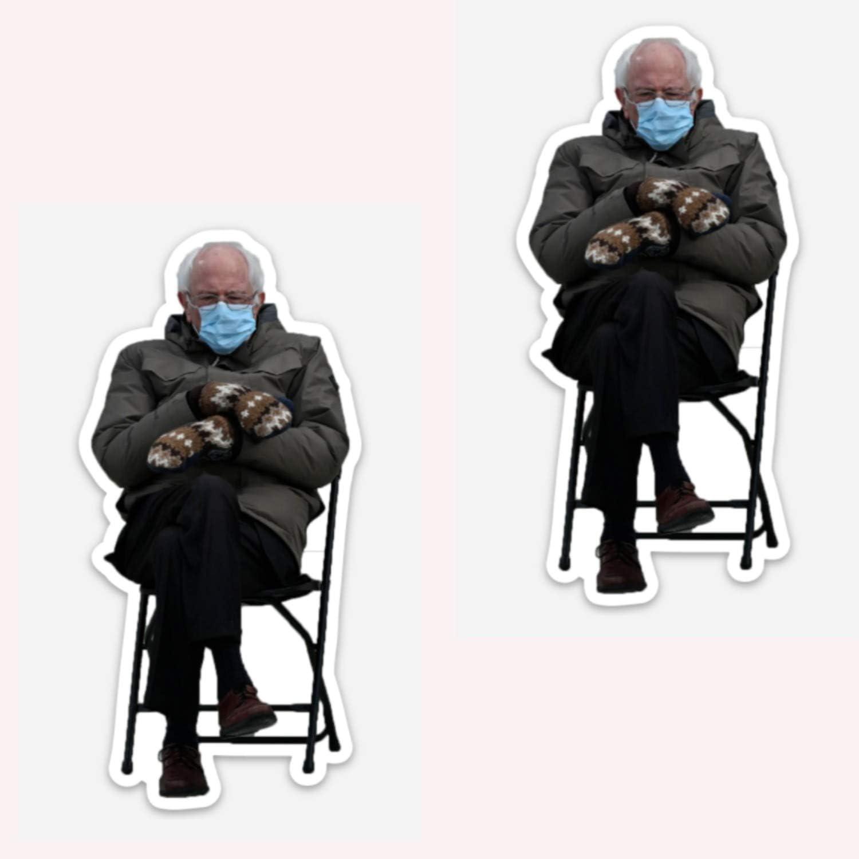 Bernie Sanders- 2pc Mittens Sitting at Inauguration, PIN- 3/4