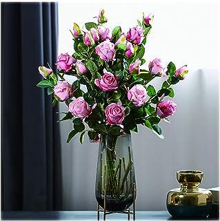 PAKUES-QO Accueil Jardin Bouquet De Fleurs De Roses Artificielles 12 Têtes De Fleurs en Soie Rose Utilisées dans Le Salon ...
