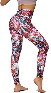 Lulupi Damen Print Leggings Sporthose Fitness Yoga Hose Bunte Leggins Tights Frauen Mode Galaxy Blumen Druck Sportleggings Laufhose Trainingshose mit Taschen