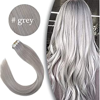 VeSunny Grey Tape in Real Human Hair Extensions 20pcs 50g Adhesive Silver Tape in Hair Extensions Remy Human Hair 24Inch
