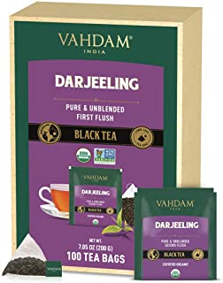 VAHDAM, Darjeeling Tea, 100 WHOLE LEAF TEA BAGS, Direct from Source in India   Certified Organic, 100% Pure Unblended Darj...