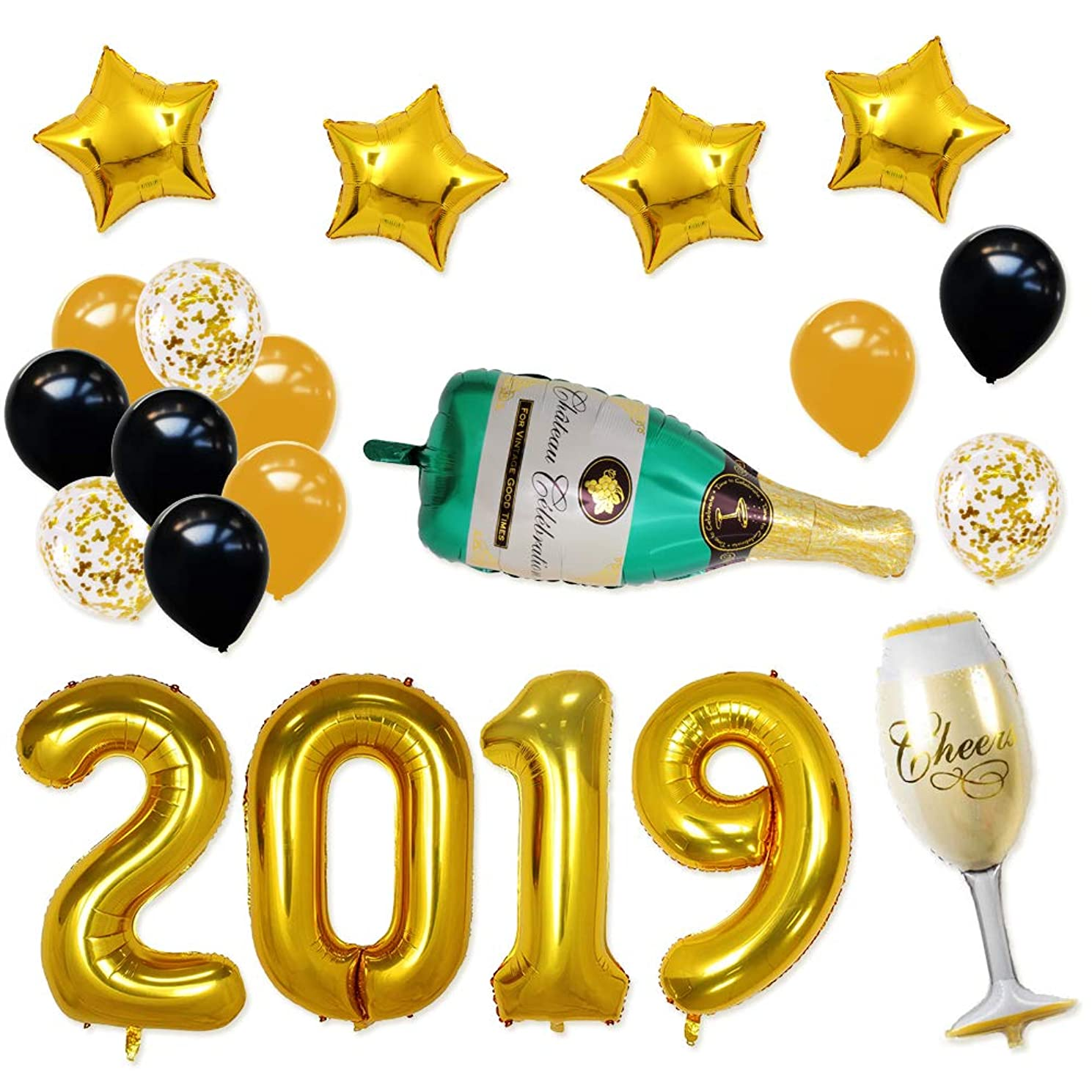 BALONAR 40INCH 2019 Gold Happy New Year Banner Champagne Bottle and Flute Gold Confetti Balloons with 12inch Latex balloons Party Decorations