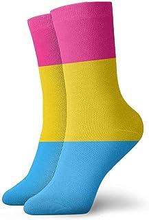 tyui7, Calcetines de compresión antideslizantes Pansexual Pride Flag Calcetines deportivos acogedores de 30 cm para hombres, mujeres y niños