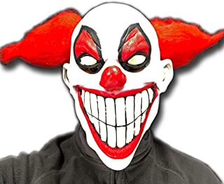 Grins the Evil Clown Mask, Rubber Johnnies, Adult, Latex, One Size, Halloween, Glow in the Dark