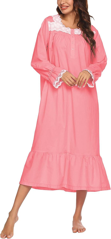 Ekouaer Sleepwear Victorian Nightgown Cotton Sleepshirt Long Sleeve Pajama Dress Vintage Loungewear for Women