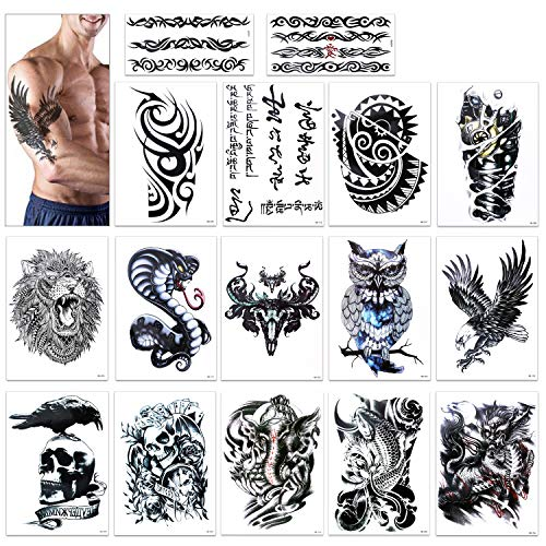 Temporary Tattoo for Guys for Man - Konsait Extra Fake Temporary Tattoo Black tattoo Body Stickers Arm Shoulder Chest & Back Make Up - Lion, Dead Skull,Koi Fish, Eagle Hawks Tribal Symbols