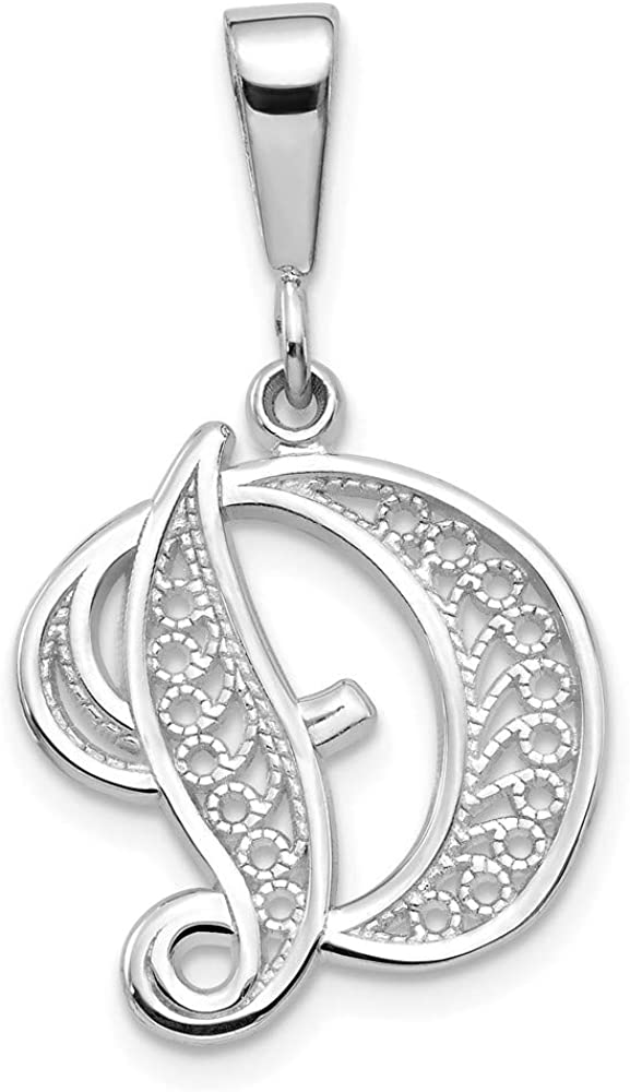 14k White Gold Solid Script Filigree Letter D Initial Monogram Name Pendant Charm Necklace Fine Jewelry For Women Gifts For Her