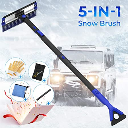 """30/"""" to 48/"""" Extendable Snow Brush with Squeegee and Foam Grip for Cars THIRDBST Car Snow Ice Scraper with Brush No Scratch Detachable Snow Brush Removal for Car Auto SUV Truck Windshield"""