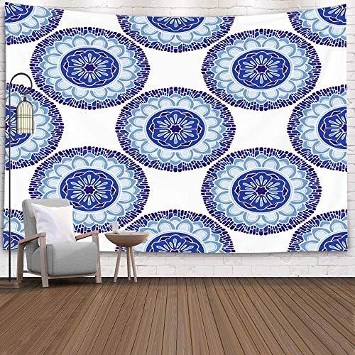 N\A Tapiz de Pared, Tapices Deacutecor Salón para el hogar por Printed for Tapices Fondo Batik Azul Bohemio Boho Concept Design Tinte Elemento Bordado Étnico, Turquesa Blanco