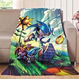 Elliot Dorothy el erizo Sonic aventura película de dibujos animados de anime comic fresco manta negra para cama sofá silla de viaje, microfibra, colorido, 60'x80'(W152cmxL203cm)