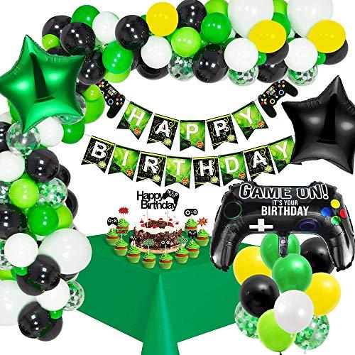 MMTX Artículos de Fiestas para Fanáticos de los Videojuegos Decoraciones para Cumpleaños de Tema de Videojuegos con Cumpleaños Estandarte Cake Toppers Manteles Globo Controlador Globo Estrella